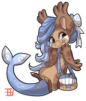 #1239 Celestial BB - Blue whale Chocolate Cookie by griffsnuff