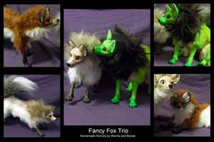 Fancy Fox Trio by WormsandBones