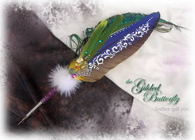 Gilded Butterfly Feather Pen by ChaeyAhne