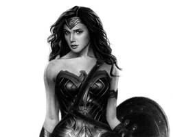 Wonder Woman | Charcoal + Graphite Drawing by Naitho