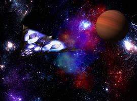 A Dussian Ultraship in space by Jakeukalane