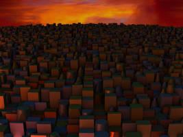 Very Overcrowded City at nightfall by Jakeukalane