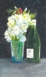 Still-life Bouquet-and-wine by digging-4-more