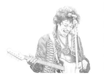 Jimi Hendrix Pencil Sketch by Carl-Seager