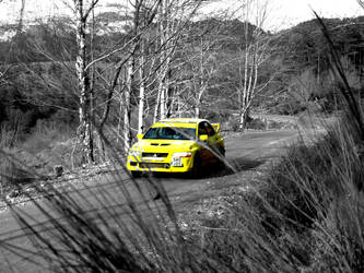 Yellow Rally Car by Martin-A-Cumming