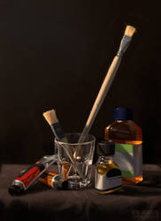 Still Life with Brushes and Paint by ReneAigner