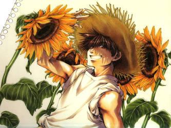 Goku and Sunflowers by kiichigonohermit