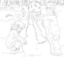 VOCALOID snowman :lineart: by Shellahx