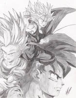 Trunks, Goku, Gohan by the14thgod