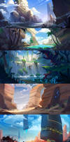 Landscape speedpaints by lepyoshka