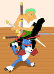 Zoro and Gaomon by Adrifinel