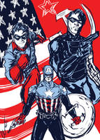Bucky, Bucky Cap, and Winter Soldier by randomality85