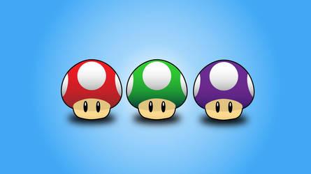 Mario Bros Mushrooms by soratofx