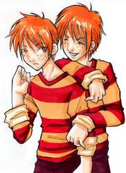 orange haired twins by kaseyu