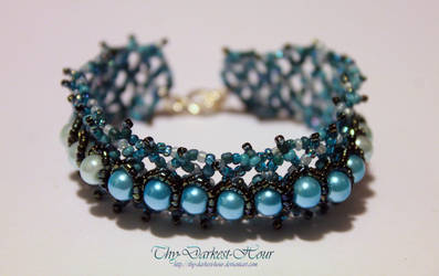 Netted Pearl Cuff - Turquoise Tones by Thy-Darkest-Hour