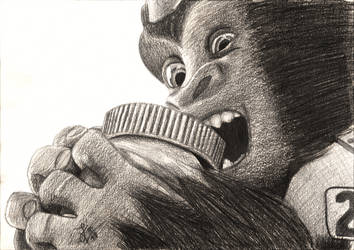 Overwatch Baby Winston Pencil Drawing by TheJulinator