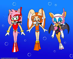 Amy, Cream and Rouge (Sonic): Scuba Diving by VoyagerHawk87