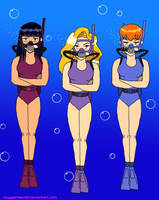 Scuba Alice, Pam and Crimson (TS) by VoyagerHawk87