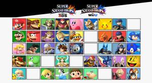 Super Smash Bros. Wii U and 3DS Current Roster by NintendoFanDj