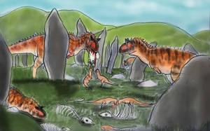 JURASSIC AFTERMATH (BONUS)-CARNOTAUR STONE CIRCLE by Taliesaurus