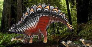 PALEOART: Stegosaurus In The Woods by Taliesaurus