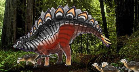 PALEOART: Stegosaurus In The Woods by Taliesaurus