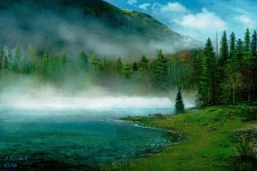 sketch misty lake by andrekosslick