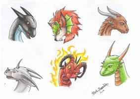 Dragon Heads V by RaikaDeLaNoche