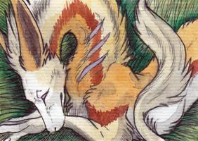 ACEO: whitew3r3wolf by RaikaDeLaNoche
