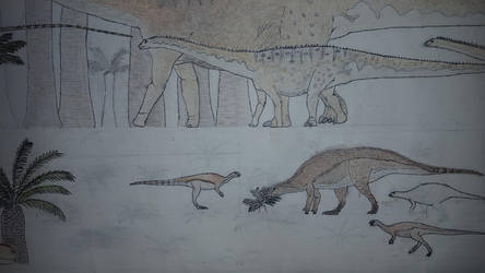 Morrison flora and fauna (w/ colored ornithopods) by Braindroppings1