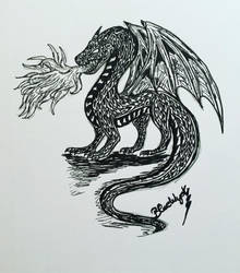 Inktober Day 23: The Fire Demon Dragon by BlueWyst