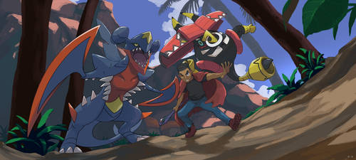 Trainer with Mega Garchomp by mark331