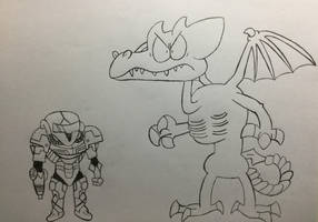 ''LOUD HOUSE'' Style: Samus and Ridley by Doodlemaster1000