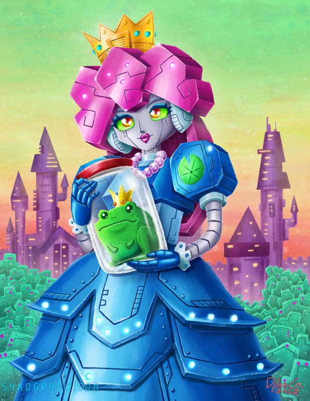 Prince Frog in Jar and Robot Princess by ninjatron