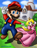 Mario and Peach by ninjatron