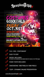 Costumes and Cocktails Flyer Template by ScorpiosGraphx
