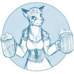 Sketchithon 11 - Khajiit Tavern Maid by Twokinds