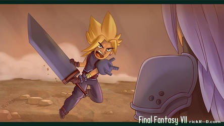 Cloud Strife ready for battle Sephiroth fan art by rickrd