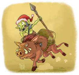 Cartoon Comic Fantasy Christmas Orc Riding War by rickrd