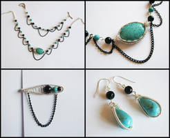 Turquoise and black agate by ALINAFMdotRO