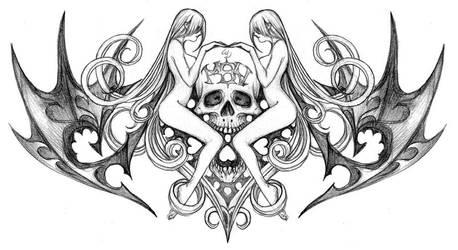 New skull tat by Wen-M
