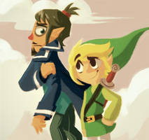 Captain Linebeck and Link by Scarlet-Ajani