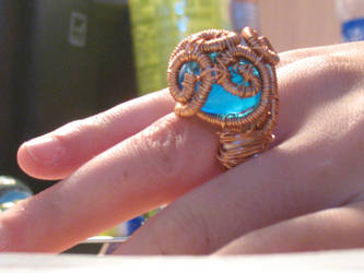 Blue Marble Wire Wrap Ring by OliveDragon23