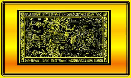 Ancient Maya Alien with lunar calender by Mikewildt