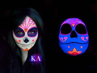 Black Light Sugar Skull with Tutorial by KatieAlves