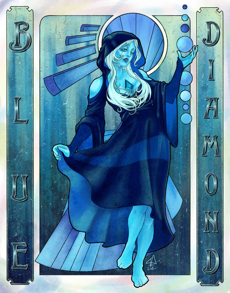 """You cannot fathom how much I've mourned, what thousands of years of grief has done to me!"" Blue Diamond, based on Alphonse Mucha's Seasons."