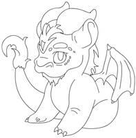 Cute Dragon -lineart- by Phobic42