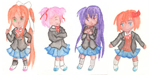 Crayon Doki Doki Literature Club Girls by immortalrae