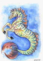 Seahorse or Hippocampus Elemental Lenormand Card I by FrancisLugfran