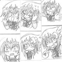 Judai Yuki Expression Sketches by MikaGx